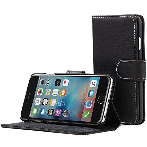Snugg Cover iPhone 6 Plus e 6S Plus, Apple iPhone 6 Plus e 6S Plus Flip Custodia Case [Slot per Schede] Pelle Portafoglio Progettazione Esecutiva [Garantita a Vita] - Nero Intenso, Legacy Range