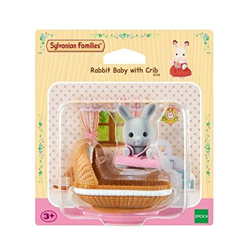 Sylvanian Families 4558 Kaninchen Baby Spielzeug mit Kinderbett, Mehrfarbig