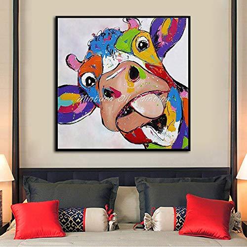 wZUN Animal Vaca Pintura al óleo sobre Lienzo Cartel Abstracto Arte Pop Cuadro de Pared para Sala de Estar decoración del hogar 60x60 Sin Marco