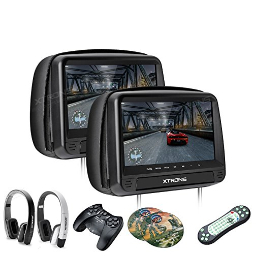"XTRONS® 2016 Neu 2x 9\"" Auto Kopfstütze HD TFT Monitor DVD CD Player HDMI USB SD Port FM/IR Touch-Button mit 2 Kopfhörer"