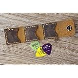 カスタマイズ ギターピックホルダー レザーケース オイルタンニン鞣し牛革 楽器アクセサリー ギタープレゼント ギダーピック収納ボックス ギタリストへユニークなギフト Guitar Pick Holder ブラウン GPC05L