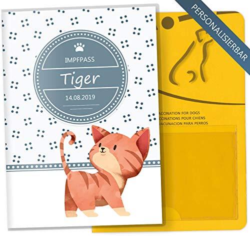Impfpass Hülle für Tiere Lovely Kittens Tierausweis Schutzhülle schöne Geschenkidee personalisierbar mit Namen und Geburtsdatum (Tiger, Impfpasshülle personalisiert)