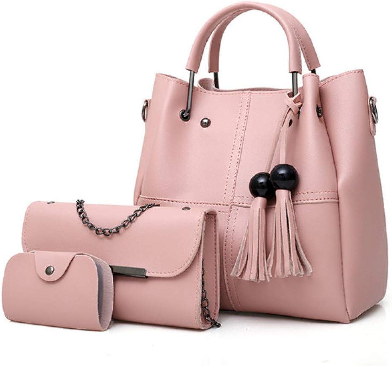 JQSM Leather Women Handbags Shoulder Bags 3Pcs Ladies Fashion Messenger Tote Bags Women Crossbody Bags for Women