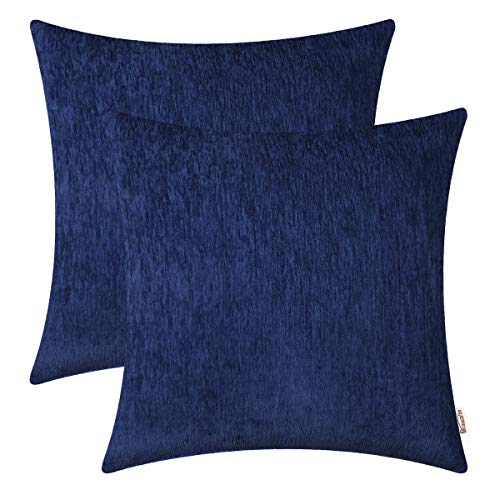 BRAWARM Pack of 2 Comfy Throw Pillow Covers Cases for Couch Sofa Home Decoration Solid Dyed Striped Soft Chenille 16 X 16 Inches Navy Blue