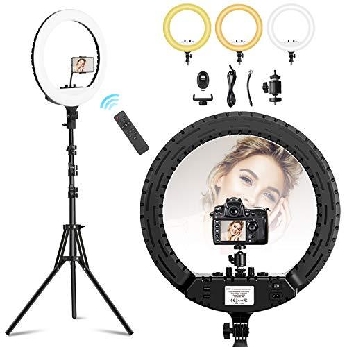 TECOOL 18 Pollici LED Luce ad Anello: 3000K - 6500K LED Ring Light con Treppiede e Supporto per Telefono per YouTube/TikTok/Live Streaming/Registrazione Video/Selfie/Trucco/Fotocamera