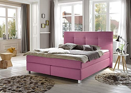 Boxspringbett Cara, 180x200cm, Pink + Fußset Quadrat Holz Eiche 15 cm