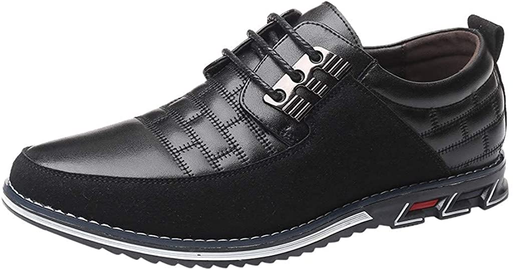 Men's Casual Oxford Shoes Fashion Round Head Business Driving Walking Shoes Leather&Frosted Work Wedding Suit Shoes