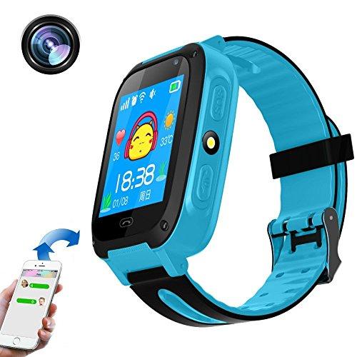 Reloj inteligente para niños, Smartwatch teléfono con pantalla táctil, llamada de emergencia, LBS localizador, cámara remota, linterna reloj de pulsera