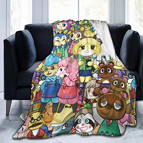 Animal Cute Characters Crossing Ultra-Soft Micro Fleece Blanket Home Decor Warm Throw Blanket for Couch Bed Sofa,80'' x60