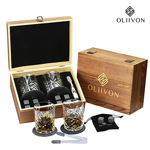 Premium Whiskey Stones Gift Set - 2 Diamond Cut Whiskey Glasses, 8 Chilling Whisky Rocks, 2 Slate Coasters, Steel Tongs, Luxury Wooden Box, Ideal For Scotch And Bourbon Drinks, Great Gift For Men