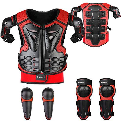 Fansport 5 Piezas Motos Ropa Protectora Niños,Rodillera Transpirable Protector de Pecho Equipo de protección para Motocross,Ciclismo,Esquí,Patinaje (Red)