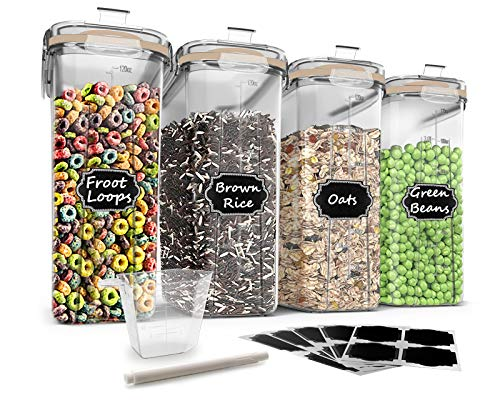 Food Storage Containers Set - Wildone Cereal & Dry Food Storage Containers [Set of 4] with Khaki Lid for Flour, Sugar & Baking Supplies, Leak-proof & BPA Free