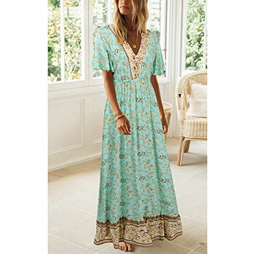 Women Dresses Promotion Sale Clearance Ladies's Summer V-Neck Bohemian Floral Short-Sleeved Dress Party Eleagant Dress UK Size S-3XL Green