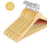 ilauke 32 STK. Kleiderbügel aus Holz mit Rockkerben und Hosensteg