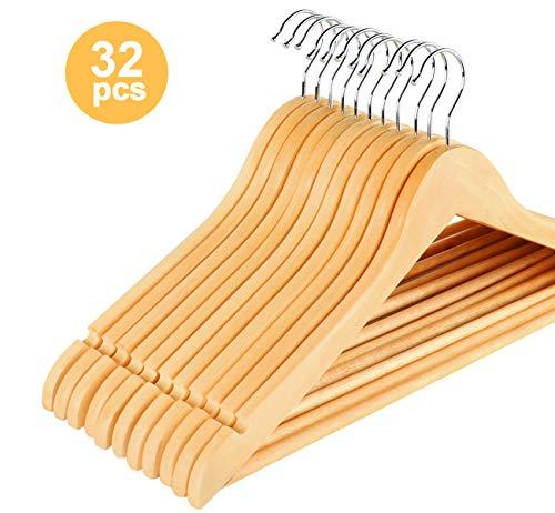 ilauke 32 STK. Kleiderbügel aus Holz mit Rockkerben und Hosensteg, 360 Grad drehbar, Jackenbügel Anzugbügel Wäschebügel, Ahornholz