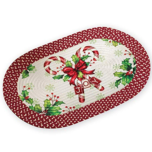 Collections Etc Christmas Braided Accent Rug with Candy Canes
