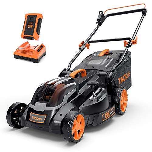 TACKLIFE Lawn Mower L9, 40V Max 4.0Ah, Brushless Motor, 16IN Cordless Lawn Mower, with Battery and Charger, 6 Mowing Heights, 3 Operation Heights, 10.5Gal Grass Box