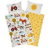 Aminata Kids Kinderbettwäsche Bauernhof-Tiere 100 x 135 cm + 40 x 60 cm, Baumwolle mit Reißverschluss, unser Kinder-Bettwäsche-Set mit Tier-Motiv ist bunt, Traktor Pferd, Hund, Esel Sonne