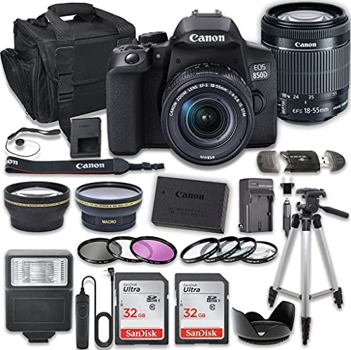 Canon EOS 850D (Rebel T8i) DSLR Camera Bundle with 18-55mm STM Lens + 2X 32 High Speed Memory Cards + Accessory Kit