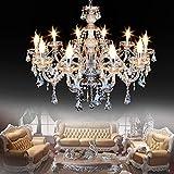 Iglobalbuy Cognac Lustre Cristal 10 Lumières, E14 Suspension Luminaire Lumineux Chaîne Réglable K9 Cristal Lustre(10 lumière)