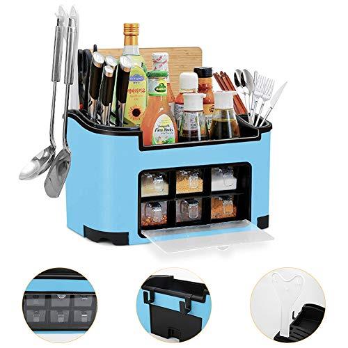 Freehawk - Porta spezie multifunzione, con cassetti, vasetti per condimenti, set di posate, coltelli e tagliere, organizer da cucina