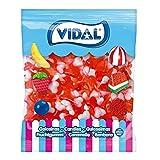 Vidal Golosinas, Huesos Brillo, Color Blanco y Rojo, Sabor Fresa, Bolsa 1 Kg