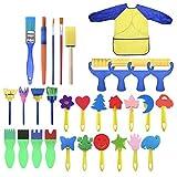 Kit de pinceles de pintura de esponja de 31 piezas para niños aprendizaje temprano patrón variado pinceles de espuma artesanales delantal impermeable delantal de pintura de arte delantal con bolsillo