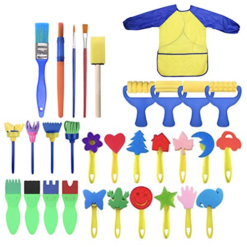 31 PCs Sponge Painting Brushes Kit for Kids Early Learning Assorted Pattern Paint Craft Foam Brushes Waterproof Apron Art Painting Smock Apron with Pocket