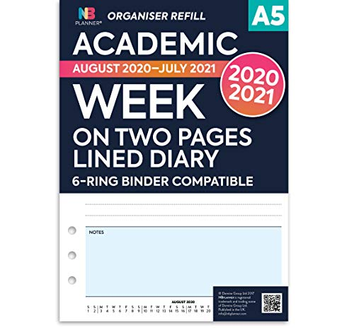 NBplanner A5 Academic 2020-2021 Week on Two Pages Lined Diary Organiser Refill