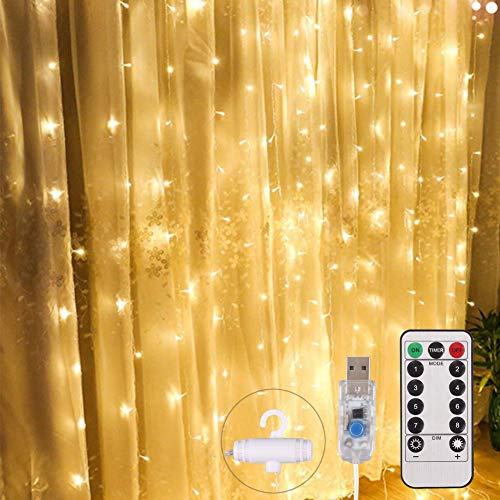 Cortina Luces LED 3x3m 300 LED, USB con Control Remoto, Pulchram Cadena de Luz Decoración Navideña,8 Modos y Temporizador,Luz de Noche para Jardín,Boda,Dormitorio,Fiesta,árbol(Blanco Cálido)