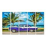 islandburner Quadro su Tela HDR Parcheggiata Auto d'Epoca Bianca Bianca Blu Americana nella Parte Anteriore Vista sulla Spiaggia a L'Avana Cuba Serie Cuba Reportage Stampa Foto Quadri Moderni