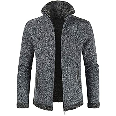 Landscap Men Sweater Men Hoodie Knit Pullover Hooded Coat Zip Up Slim Fit Winter Warm Athletic Hooded Sweatshirts(Dark Gray,XXL)
