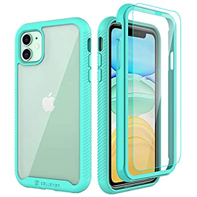 CellEver Compatible with iPhone 11 Case, Clear Full Body Heavy Duty Protective Case Anti-Slip Full Body Transparent Cover Designed for iPhone 11 (2X Glass Screen Protector Included) - Mint