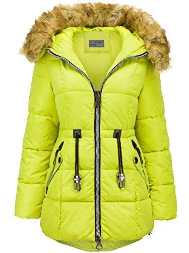 Abrigo largo de invierno de plumón con capucha de pelo largo, efecto parka amarillo fluorescente XL
