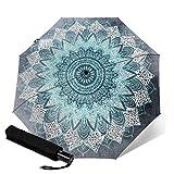 Bohochic Mandala en azul de viaje plegable automático triple paraguas compacto paraguas ligero sol y lluvia paraguas