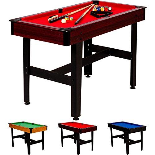 Maxstore 4 ft Billardtisch COMPACT + Zubehör, 3 Farbvarianten, 122x61x76 cm (LxBxH), Schadstoffgeprüft, Dunkles Holzdekor, Rotes Tuch