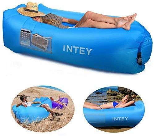 INTEY aufblasbares Sofa, wasserdichtes, aufblasbares Outdoor-Kissen, integriertes Kissen-Design, mit integrierter Aufbewahrungstasche, faltbares und verschleißfestes Camping-Sofa, Strand