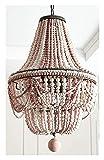 Bohemien Camera Da Letto Lampadario Principessa Camera dei Bambini Ristorante Decorazione Lampada Francese Romantico Bianco Caldo Perline Di Legno Lampadario Rosa Bianco