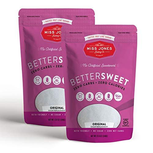 Miss Jones Baking BetterSweet MonkFruit & Erythritol Sweetener, Keto & Paleo, White Granular, 2 Count