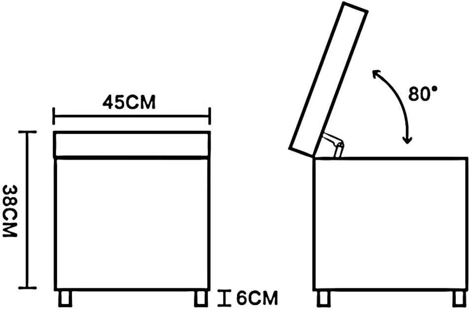 chaise FHW PU de Haute qualité en Cuir généreux Boîte de Rangement Ottomans Casquettes Pied de siège supplémentaire Accueil Utilisez PU + Bois Frame (Color : Brown) Red