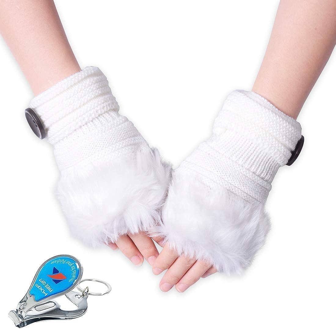 WITERY Knit Weave Winter Fingerless Gloves Warm Wool Cuff Mittens for Women