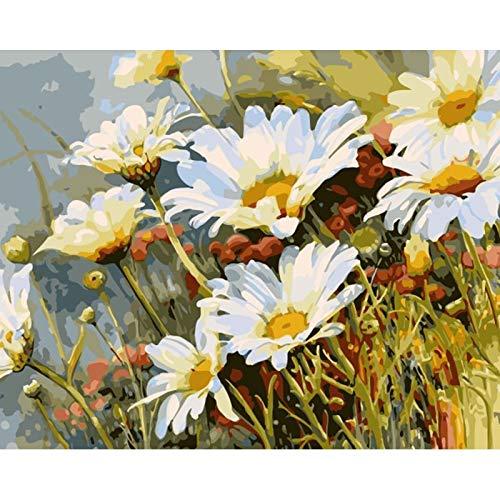 Pintura al óleo digital Pintura al óleo Flor sobre lienzo con pintura de dibujo a mano Imagen para adultos para colorear Arte decorativo digital W4 50x65cm