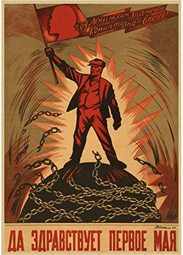 DUANQIAN Póster De Lienzo Impermeable Y Duradero Unión URSS Segunda Guerra Mundial Propaganda Política Leninista Póster Soviético Decoración De Pared Retro Póster Vintage 50 * 70 Cm Sin Marco