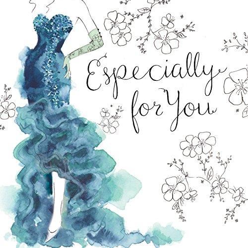 Twizler Geburtstagskarte für Sie mit Swarovski-Kristall-Finish, Silberfolie und einzigartigem Aquarell-Effekt – Besonders für Sie – Cocktailkleid – Ballkleid – Geburtstagskarte für Frauen