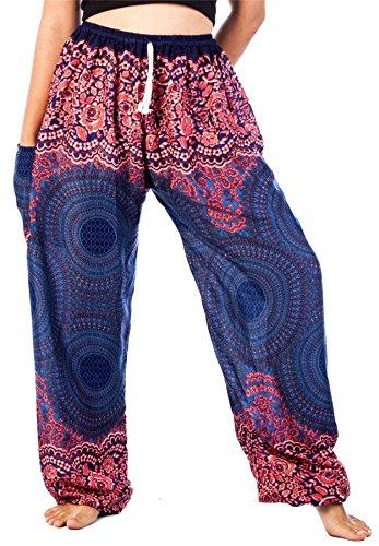 Lofbaz Mujer Cordón Rose 1 Harén Boho Genio Pantalones Azul Oscuro L