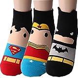 Superheld Charakter Knöchel Socken 3 Paaren - Superman, W&erfrau, Batman Sneakersocken