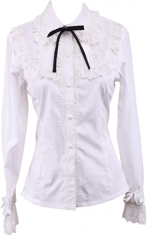 Hugme White Cotton Lolita Blouse Long Sleeves Lace Trim TurnDown Collar Black Bow