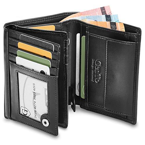 Oslo Große Geldbörse mit Münzfach - TÜV geprüfter RFID, NFC Schutz - geräumiges Portemonnaie - Geldbeutel für Herren und Damen - Portmonaise inkl. Geschenkbox (Schwarz - Glatt)