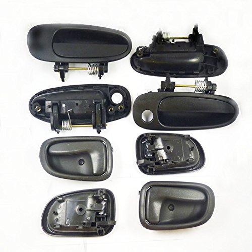 Poignée de porte extérieur Noir Noir à l'intérieur kit Lot de 8 nouveaux 6922012160 pour Corolla 1993–1997