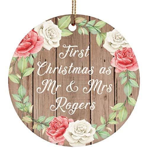 First Christmas As Mr & Mrs Rogers - Circle Wood Ornament B Xmas Christmas Tree Hanging Holiday Decor-ation Keepsake - for Wife Husband GF BF Wo-men Her Him Wedding Birthday Anniversary